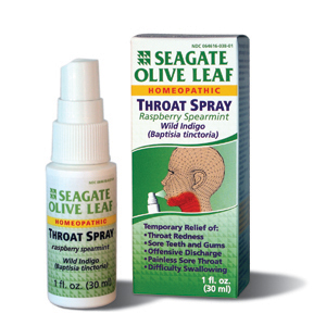 Seagate, Olive Leaf Throat Spray, Raspberry Spearmint
