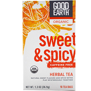 Good Earth Teas, Organic Herbal Tea, Sweet & Spicy, Caffeine Free, 18 Tea Bags, 1.3 oz (36.9 g)