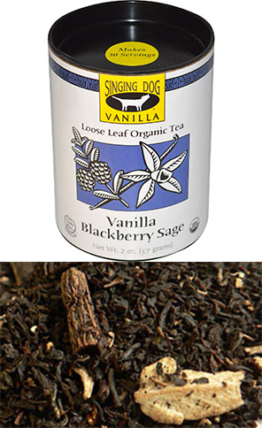 Singing Dog Vanilla, Loose Leaf Organic Tea, Vanilla Blackberry Sage, 2 oz (57 g)
