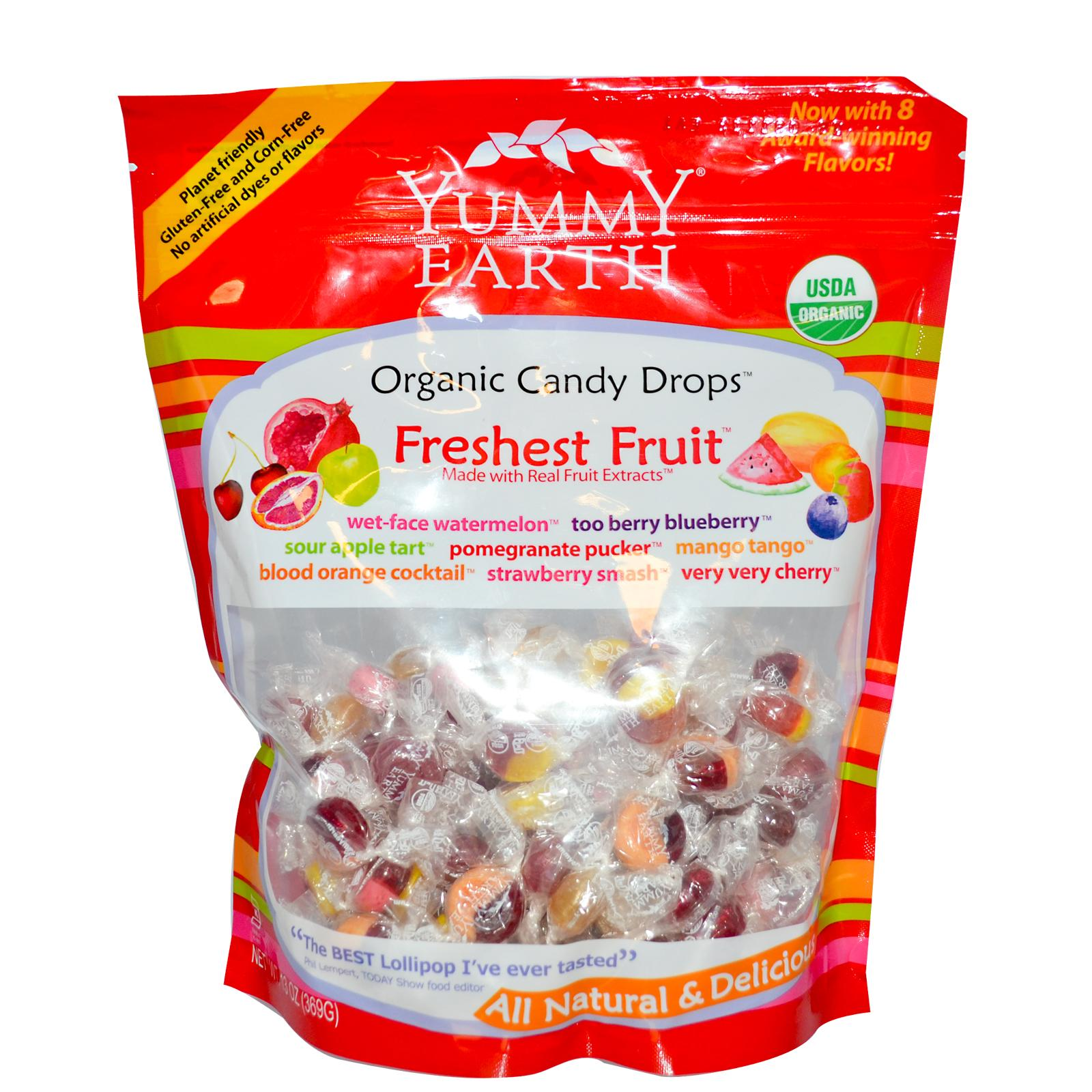 Леденцы Yummy Earth, Organic Candy Drops, Freshest Fruit
