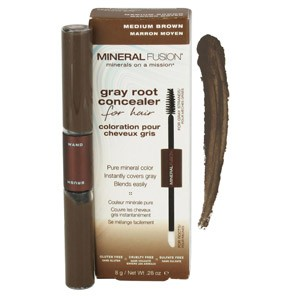 Mineral Fusion, Gray Root Concealer for Hair, Medium Brown, .28 oz (8 g)