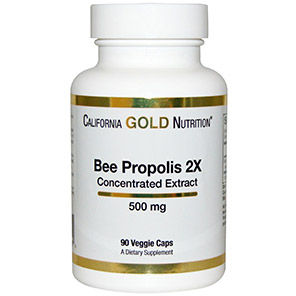 California-Gold-Nutrition,-Bee-Propolis-2X,-500-mg,-90-Veggie-Caps